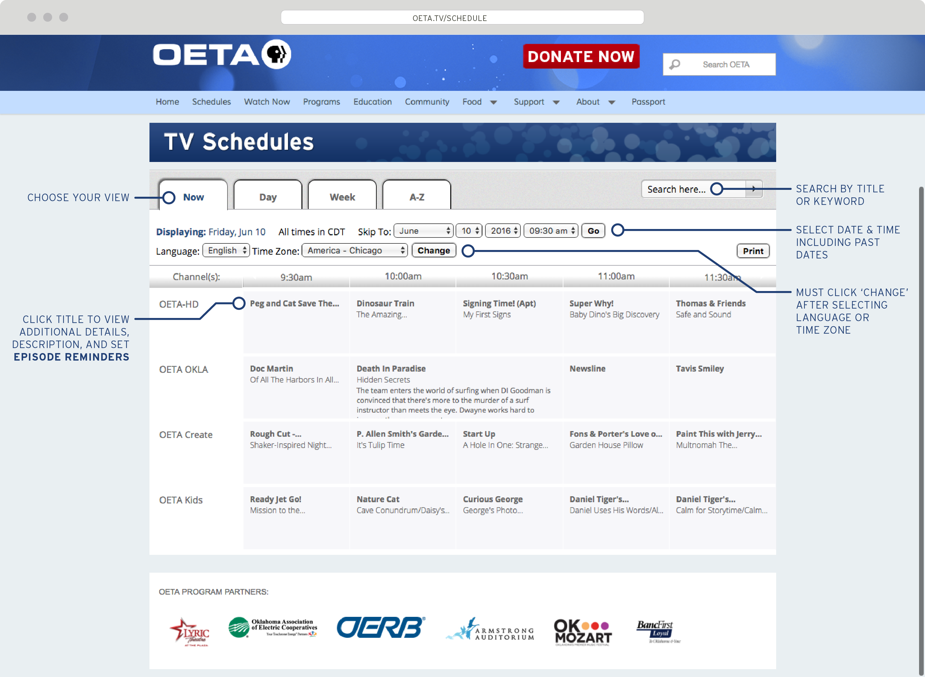New schedule page unveiled for for Oeta schedule