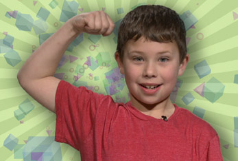 Kid with strong muscles