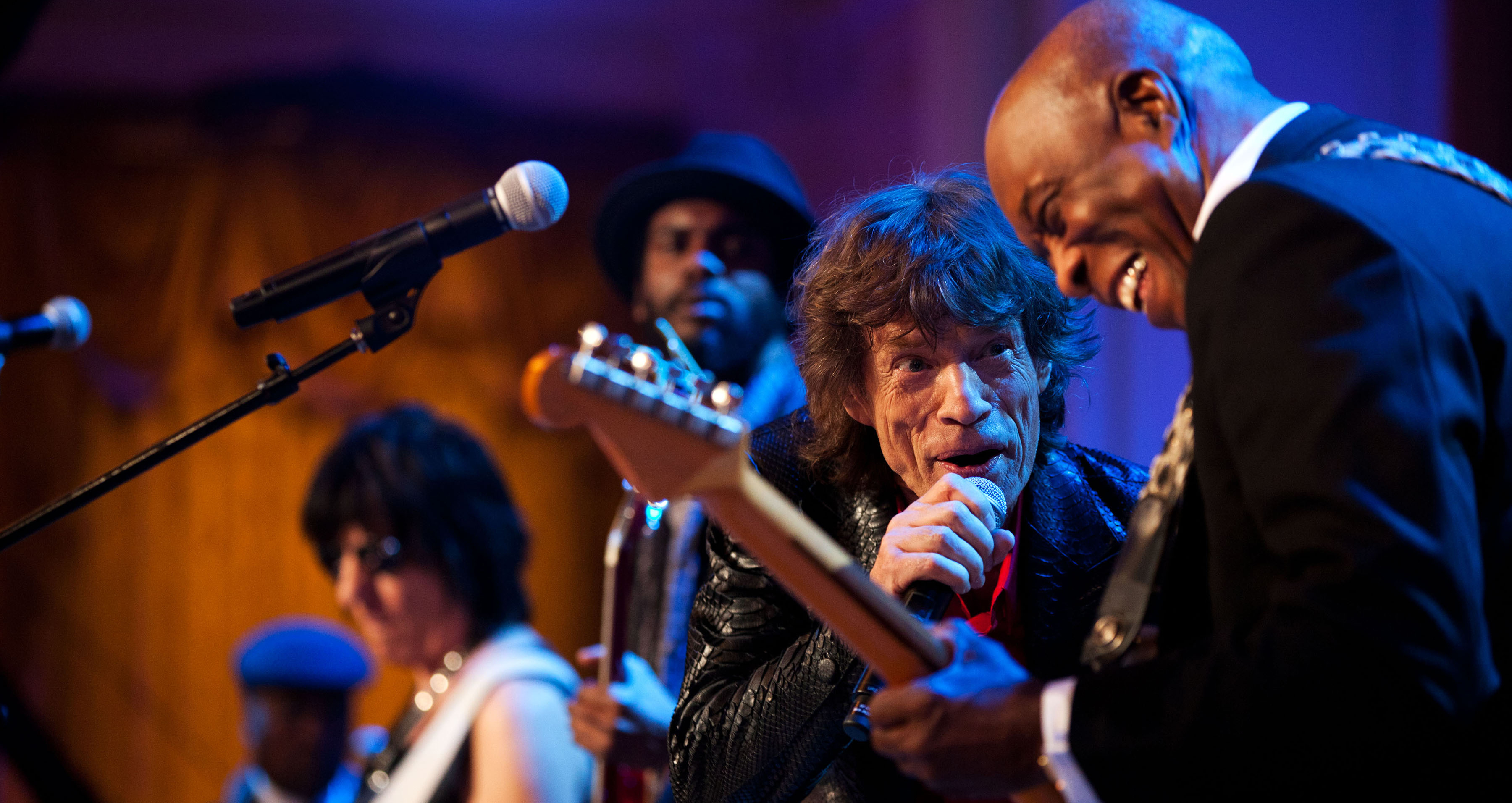 Mick Jagger performs with Jeff Beck and Buddy Guy