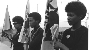 #1 Women drilling with Panther flags..jpg