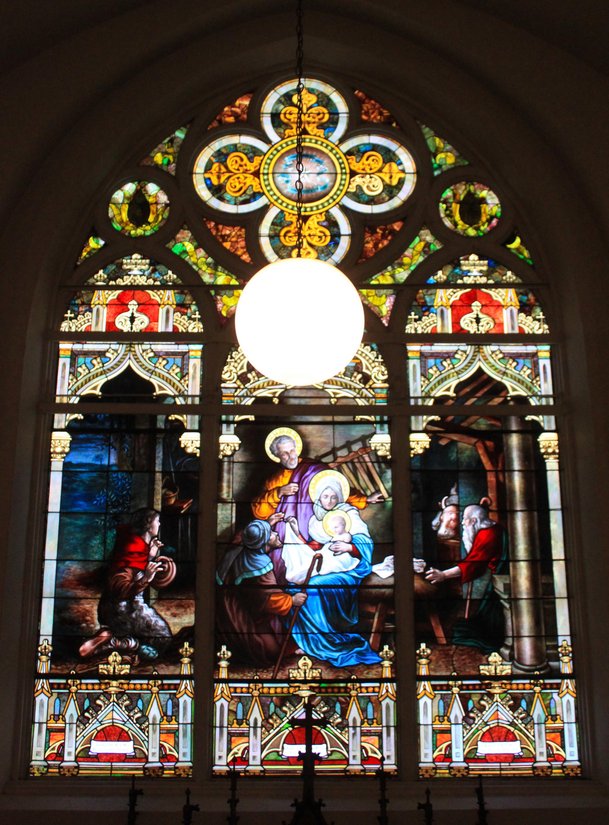 The stained glass Nativity scene at St. Patrick's is likely the work of Milwaukee-based artist Karl Riemann