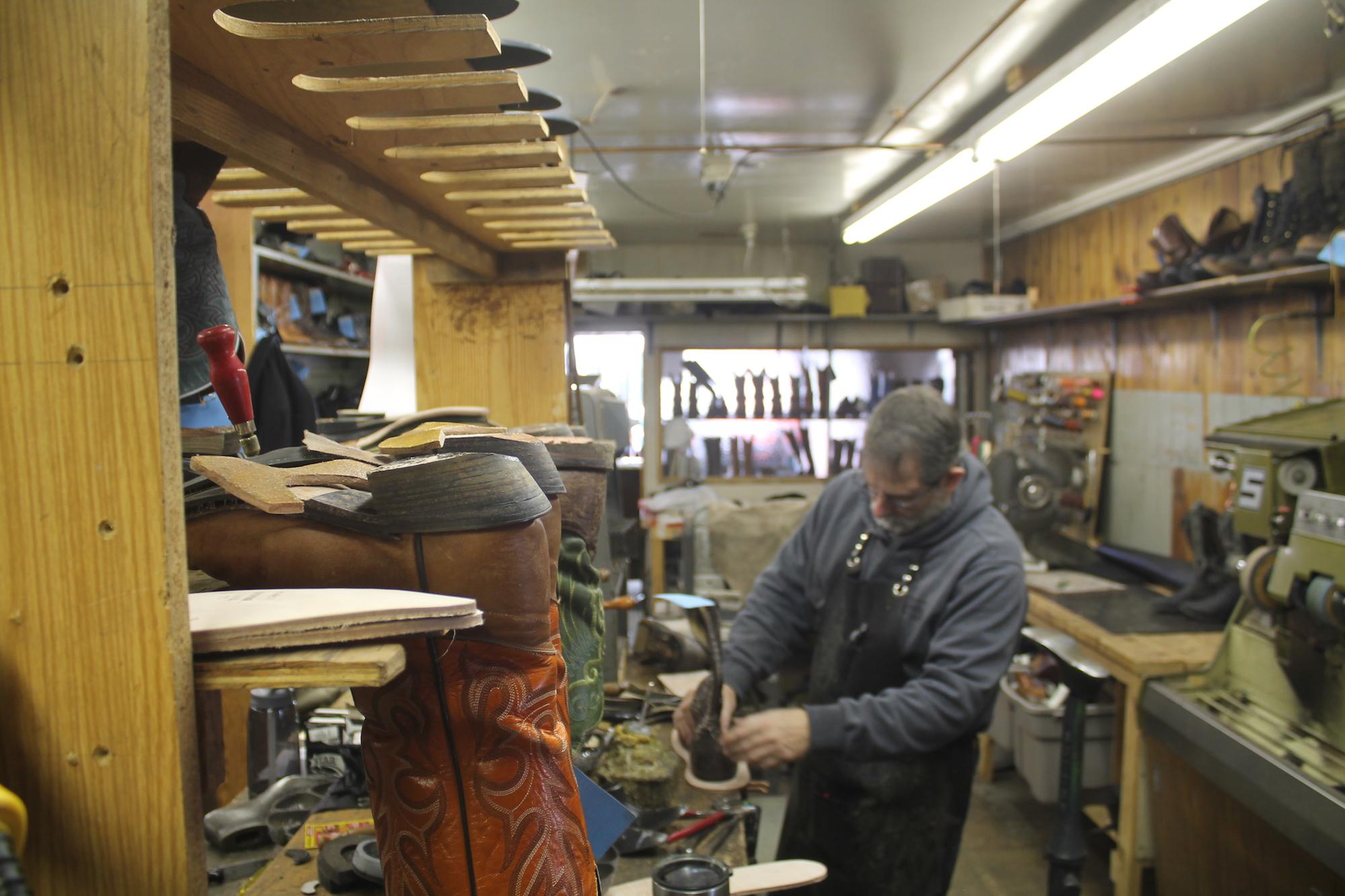 Inside Bob's Shoe Repair. Background: Clay Banyai.
