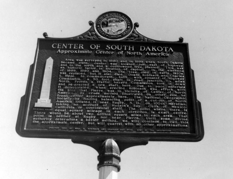The sign erected at the site of the original monument in 1958.