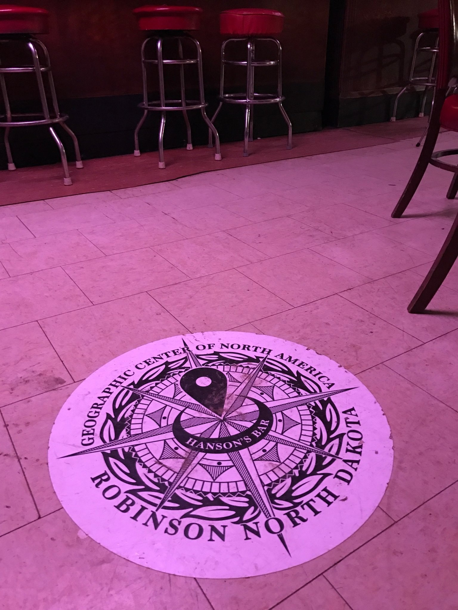 A decal on the floor of Hanson's Bar in Robinson, North Dakota.