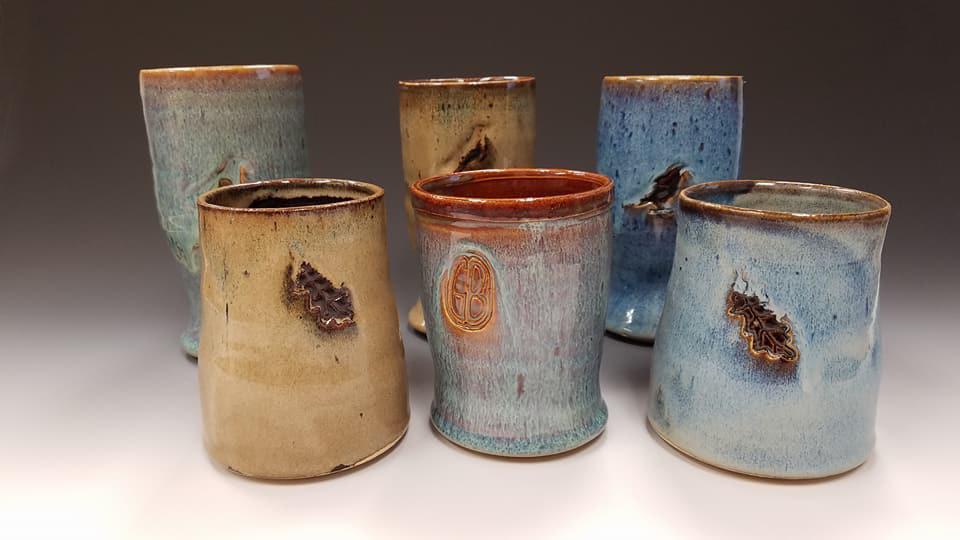 Dykstra Pottery mugs for Black Bird Espresso, Green Been Coffee, Harriet & Oak.
