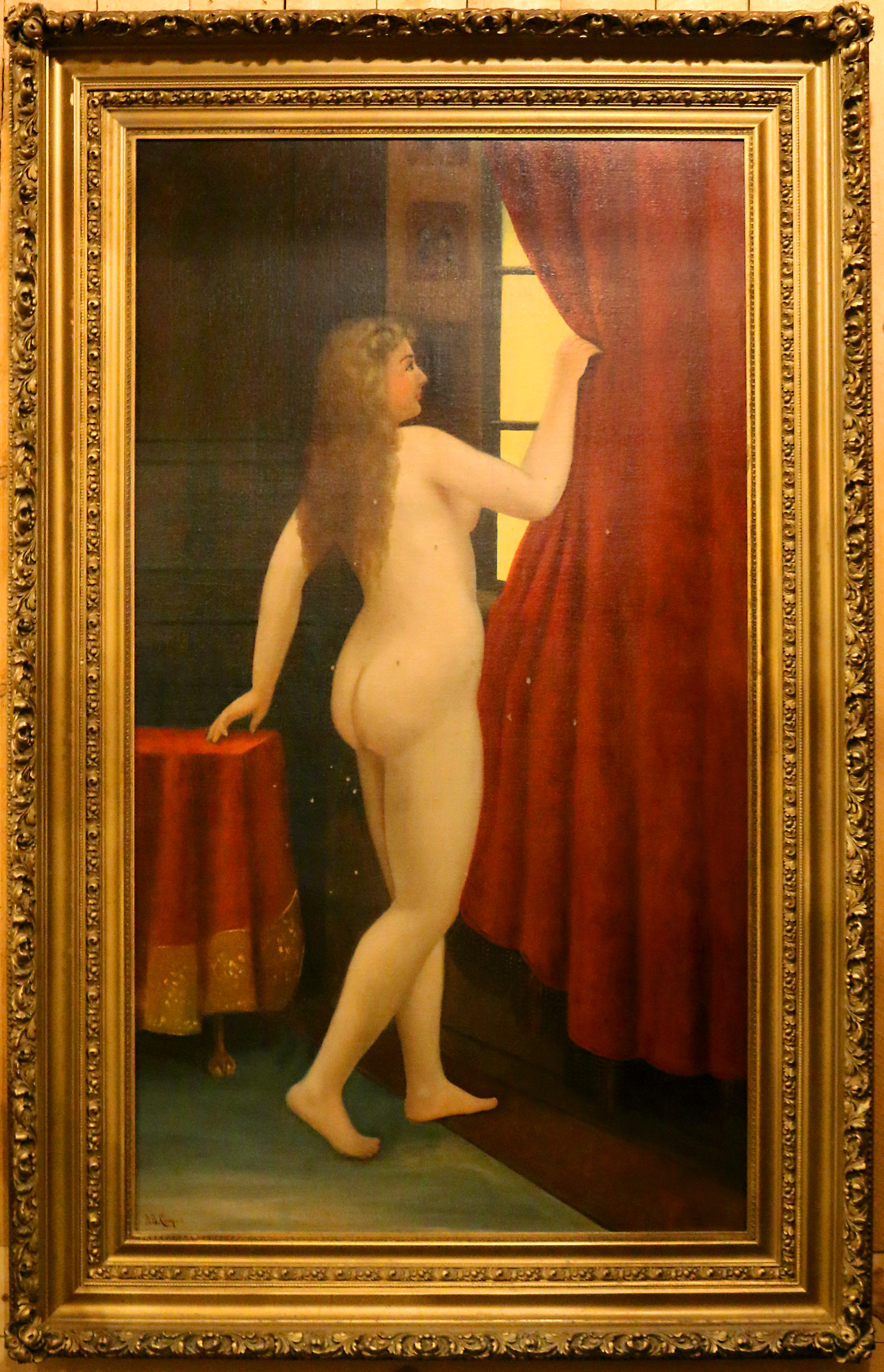 Legend has it that Poker Alice damaged this painting when she fired a shotgun at her Sturgis brothel.