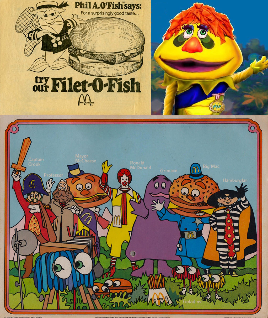 Clockwise: A Phil A. O'Fish ad from 1976, H.R. Pufnstuf, and a vintage placemat featuring Captain Crook.