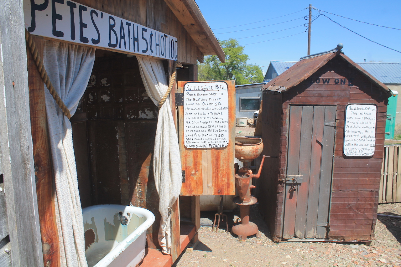 A couple historic additions at the Outhouse Museum.
