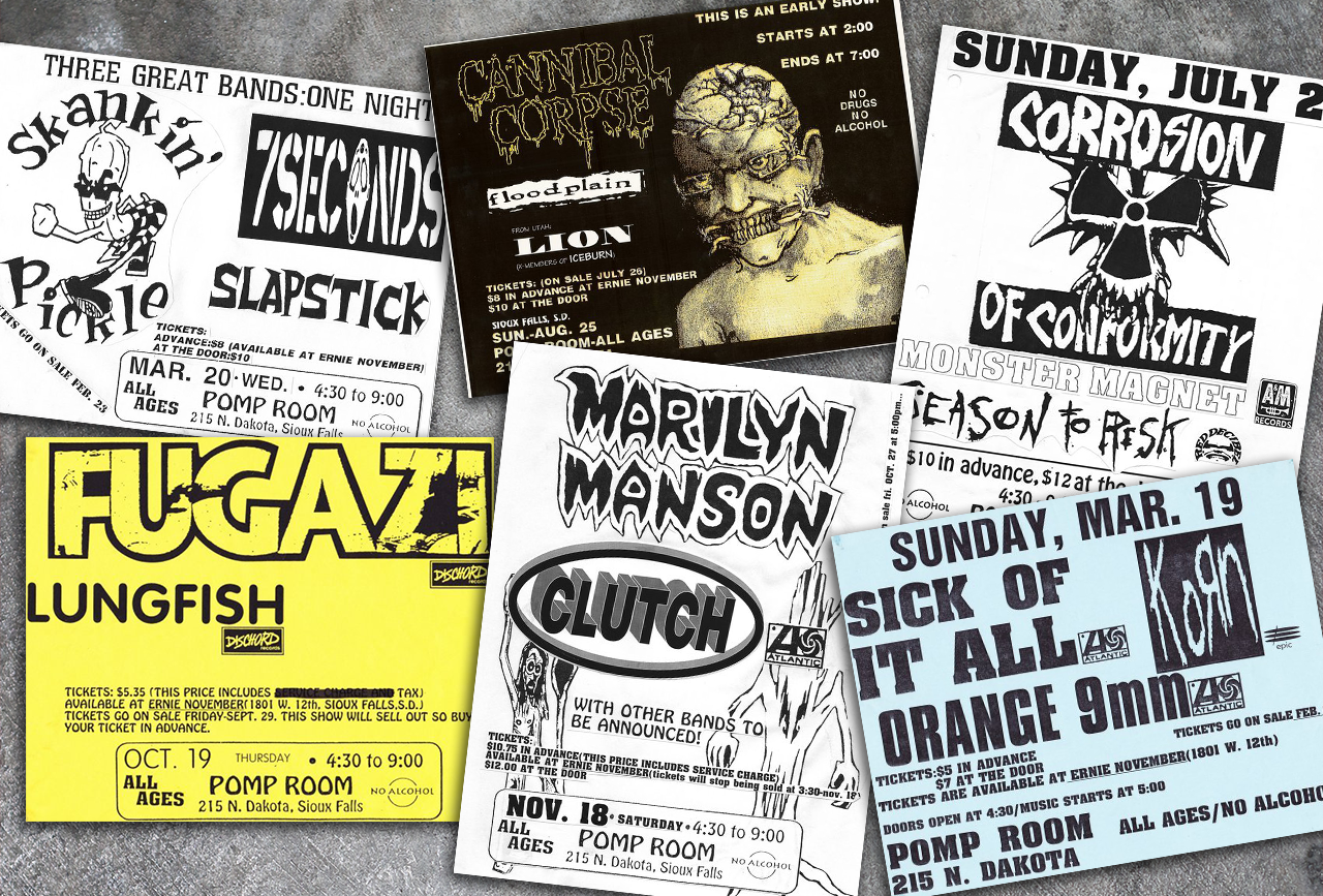 Flyers for all-ages shows at the Pomp Room, ca. early-to-mid nineties.