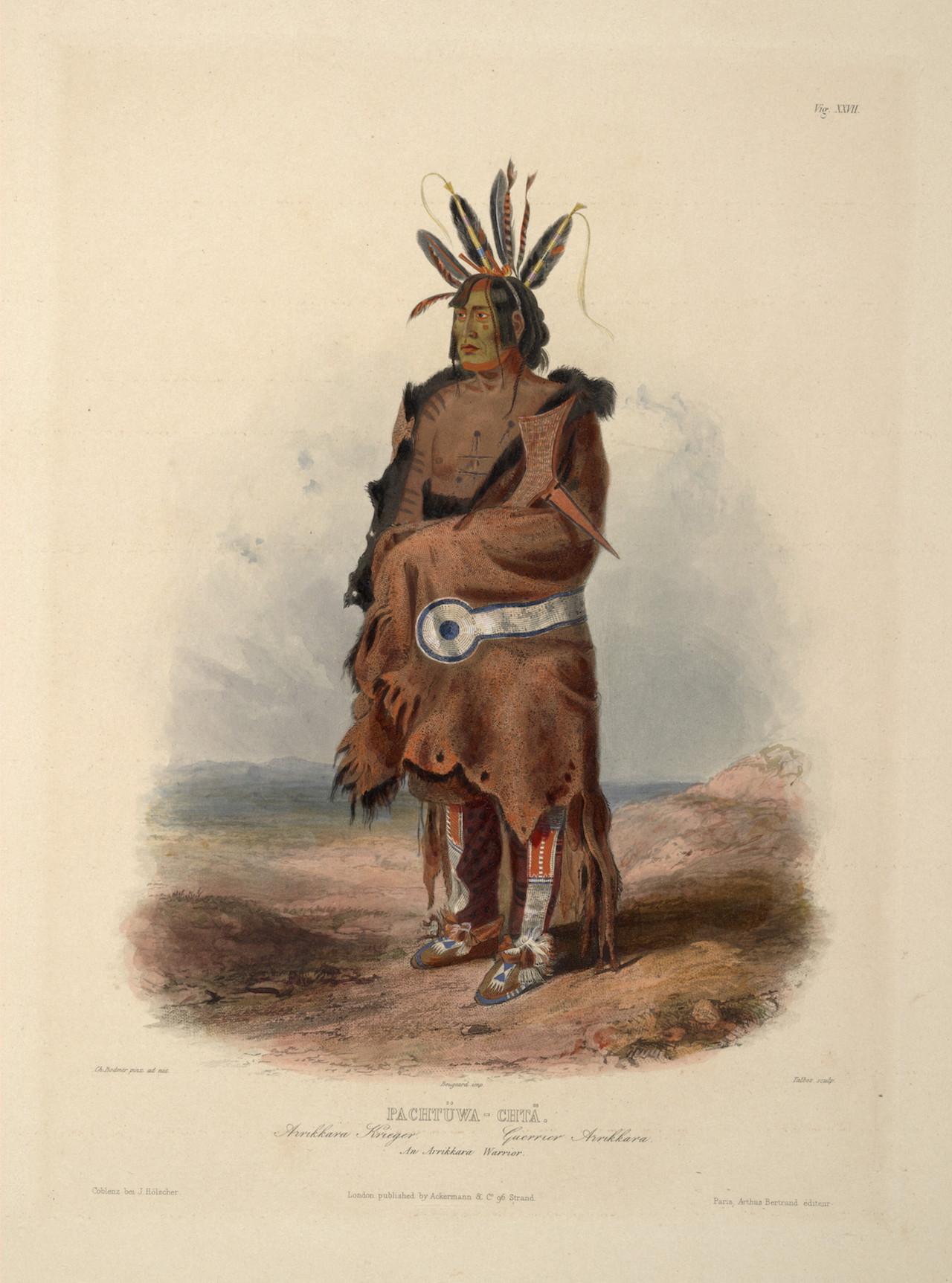 An 1834 depiction of an Arikara warrior by artist Karl Bodmer.