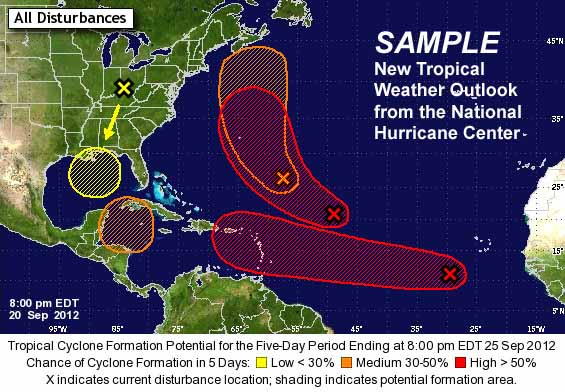 An example of the new look for the National Hurricane Center's five-day Tropical Weather Outlook, which will include track forecasts.