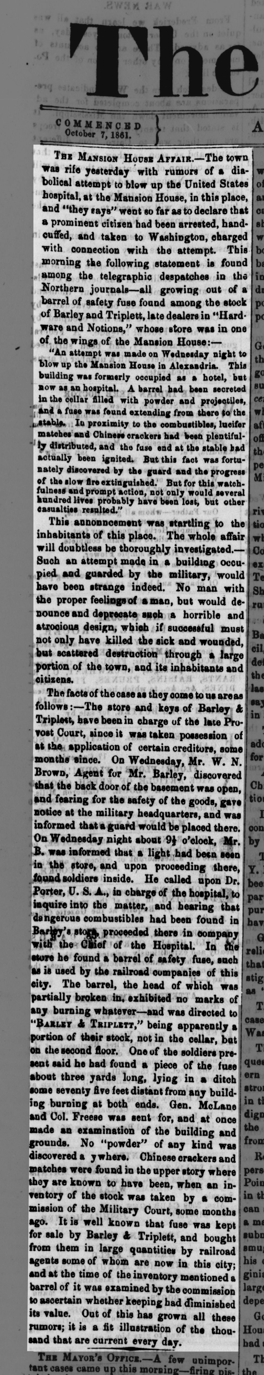 A close-up of the story in the Jan. 10, 1862 Alexandria Gazette