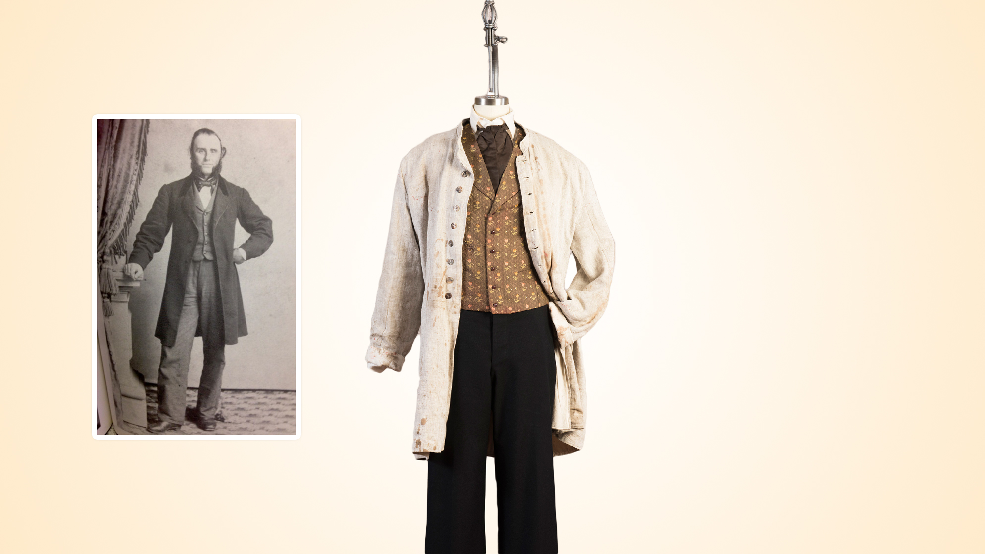 Dr. Hale's military surgeon's uniform pants, civilian waistcoat, tie and shirt, linen cover up.