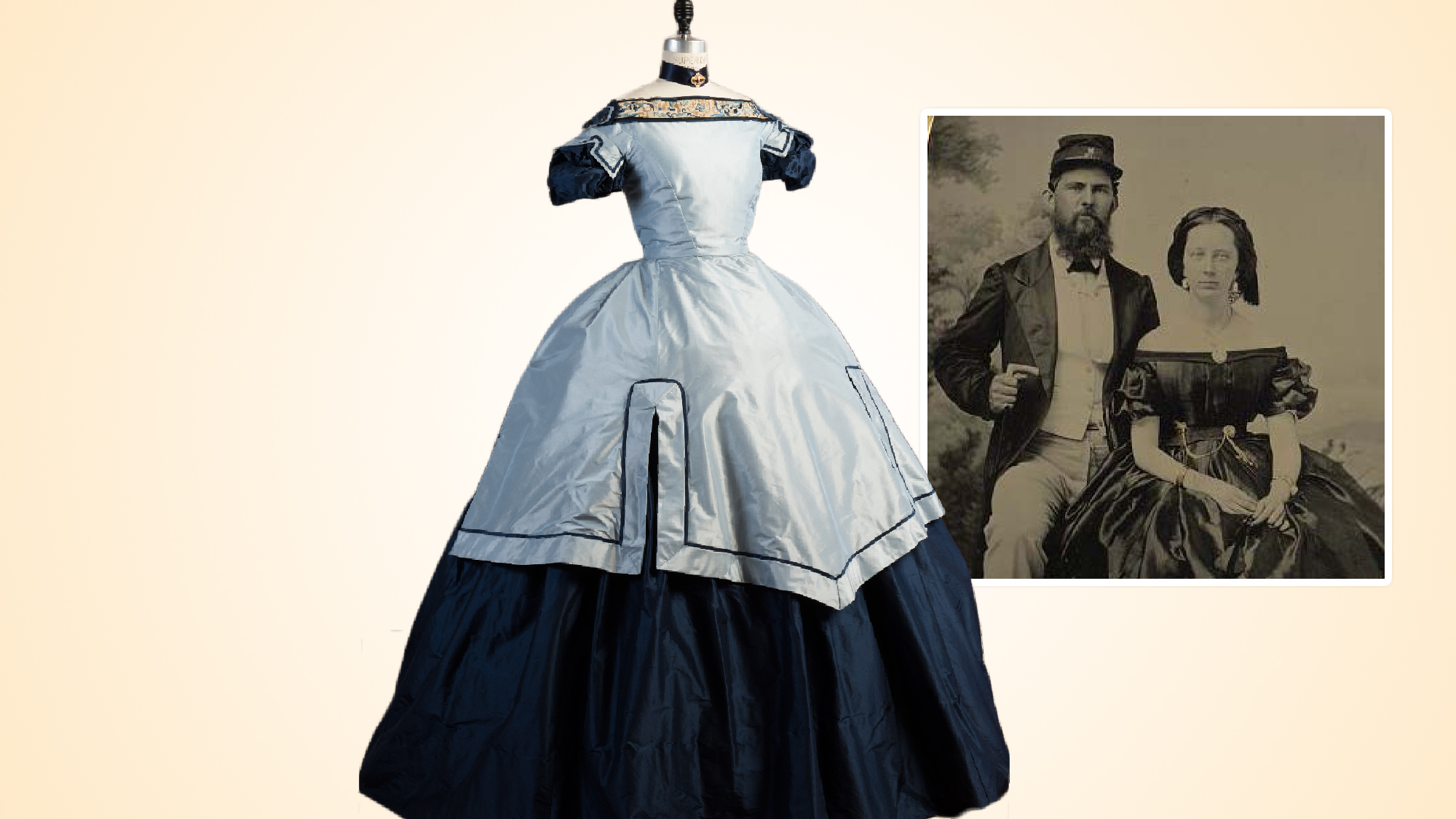 Mary Phinney's ball gown: two shades of blue silk taffeta with piping and antique embroidery.
