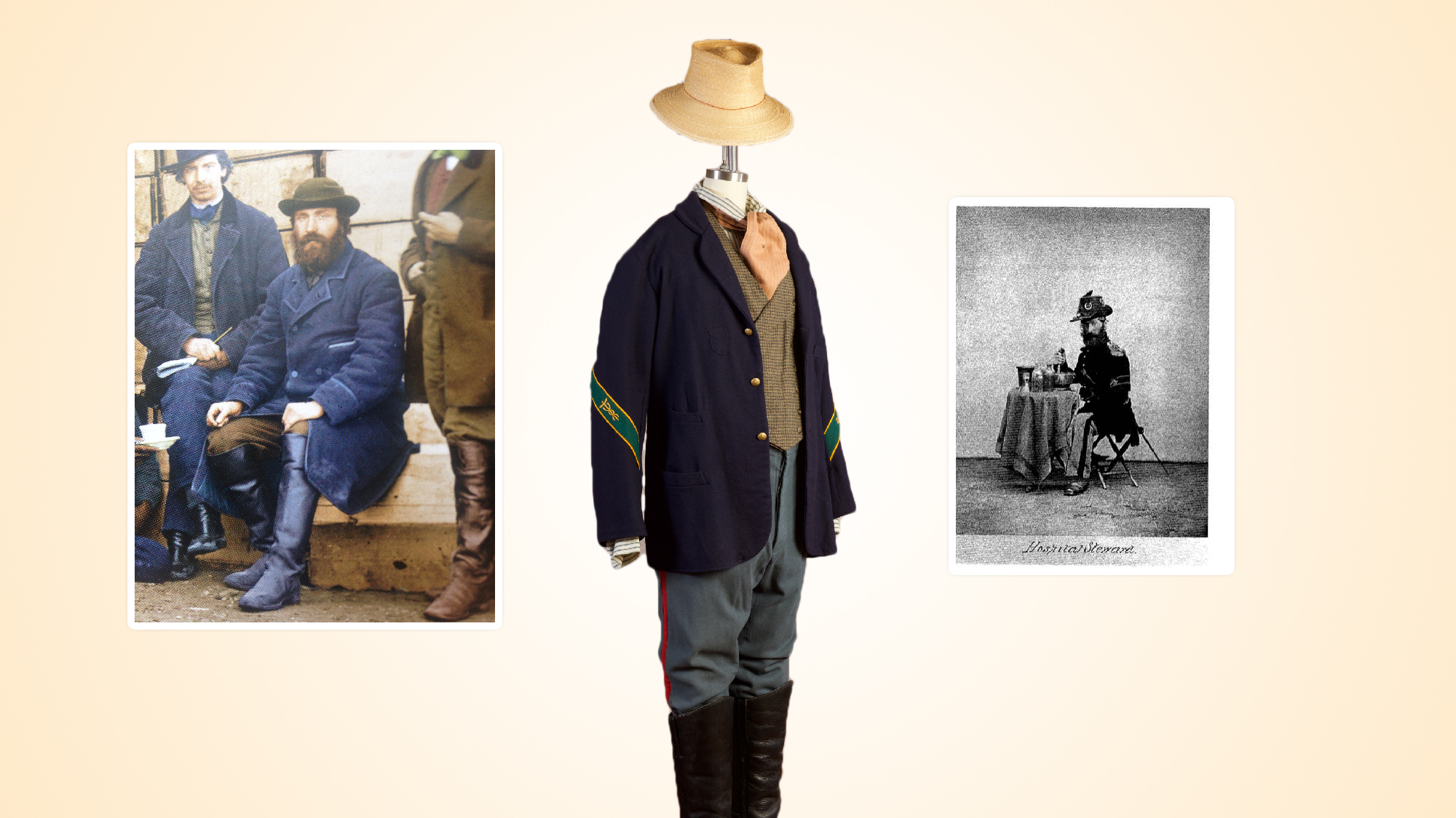 Silas Bullen's Union Stewards Uniform with civilian waistcoat and necktie; straw hat by Ignatius Hats.