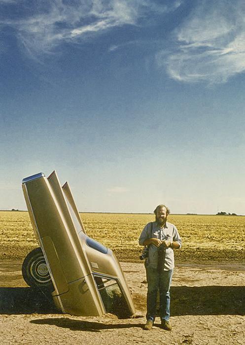 Photographer Wyatt McSpadden in 1974 at Cadillac Ranch