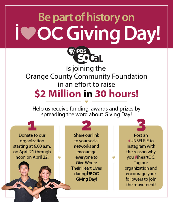 How to donate to PBS SoCaL during the Orange County Community Foundation's iheartoc Giving Day