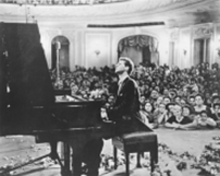 Van Cliburn at the Moscow Conservatory following his historic win at the first International Tchaikovsky Piano Competition, 1958.