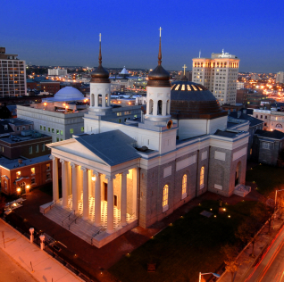 The Baltimore Basilica at night. Latrobe designed this building.