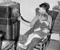 A father and daughter listening to the radio.