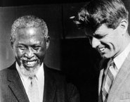 Robert Kennedy with Chief Albert Lutuli, the first African Nobel Peace Prize winner, who was banned and living in internal exile.