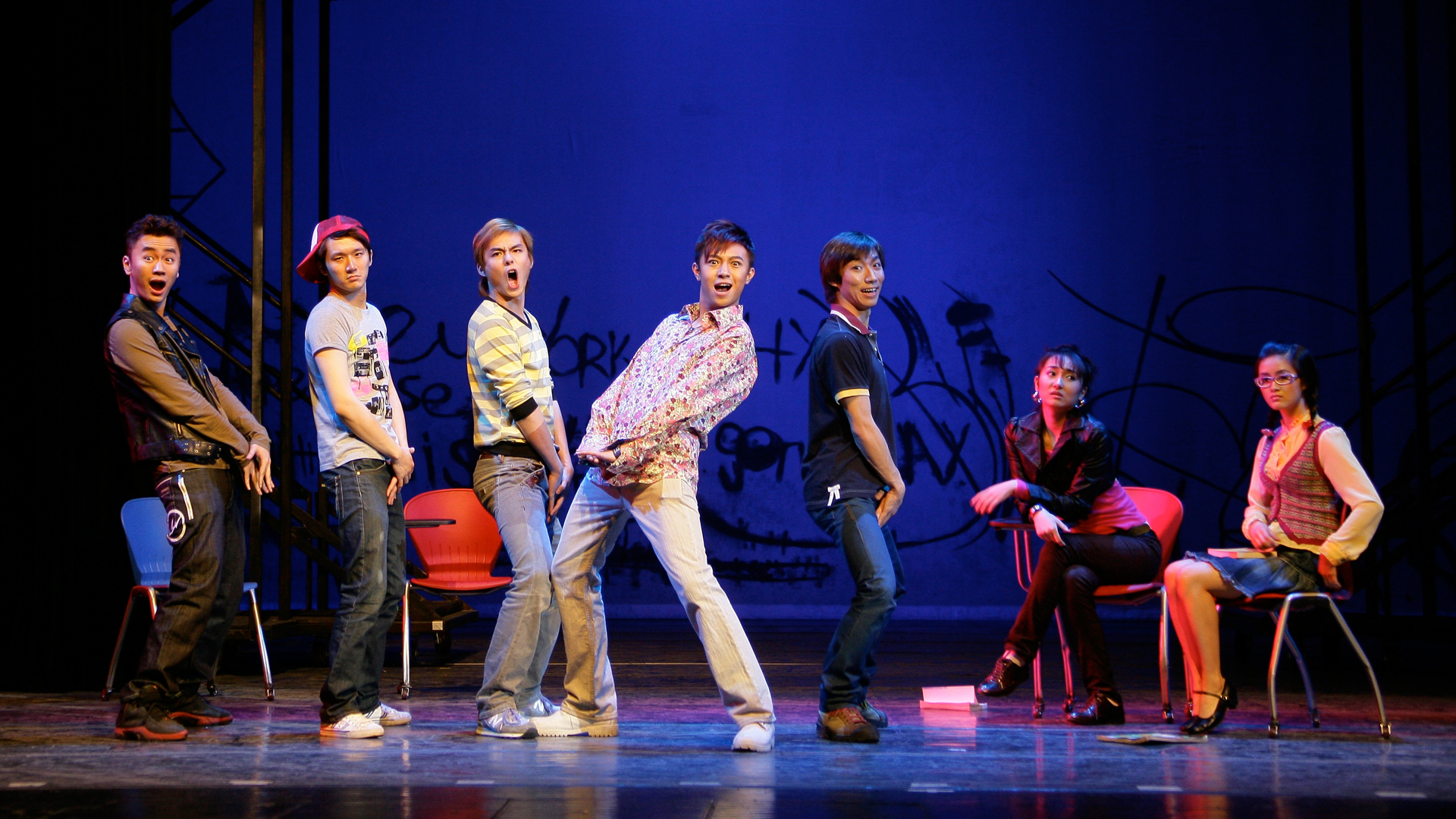 Chinese students from the Central Academy of Drama perform in the first staging of the American musical Fame.