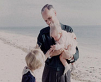 Walker Percy at the beach with his daughters