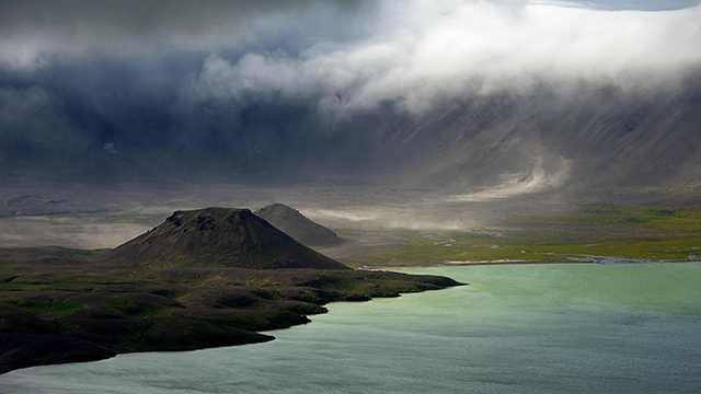 Aniakchak was once a stratovolcano that exploded 3500 years ago. Courtesy of Roy Wood.