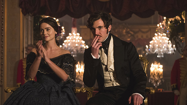Jenna Coleman as Victoria and Tom Hughes as Albert.