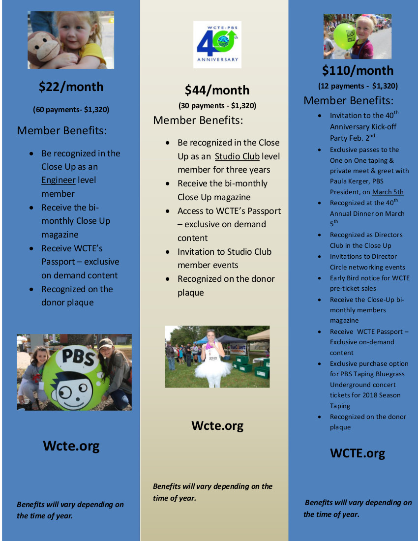 Three Levels of Giving Benefits for WCTE's 40 for 22