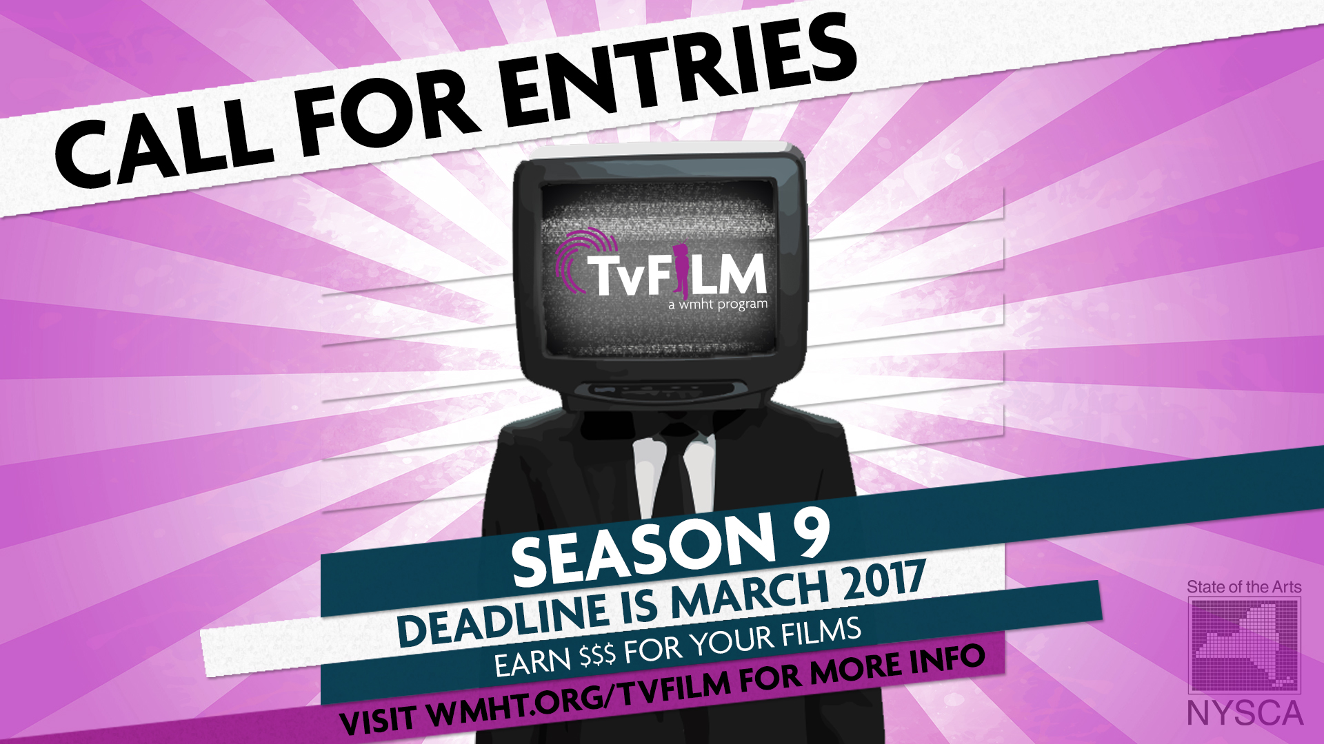 TvFILM Season 9 Call for Entries - Person with TV as head with TvFILM logo on screen