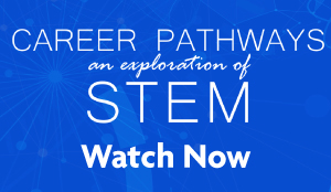Career Pathways: An Exploration of STEM promotion - white text on a blue background