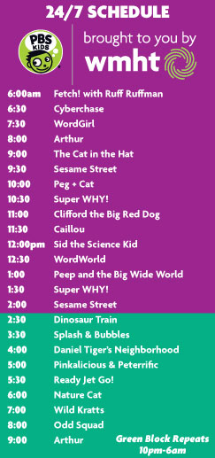 WMHT PBS Kids 24/7 Schedule - white lettering on a purple and green background