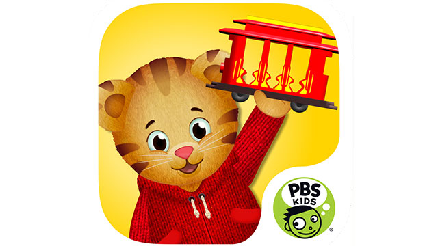 PBS Kids Daniel Tiger's Grriffic Feelings App featuring Daniel holding up a red trolley on a yellow background