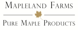 Mapleland Farms Logo - Black Text on White Background with a gold maple leaf