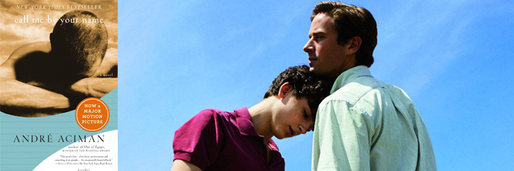 Call Me By Your Name - Aciman book cover and movie screenshot