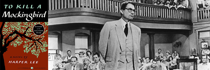 To Kill a Mockingbird by Harper Lee, book cover and screenshot from film