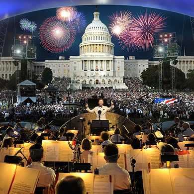 Conductor and Orchestra in front of US Capitol