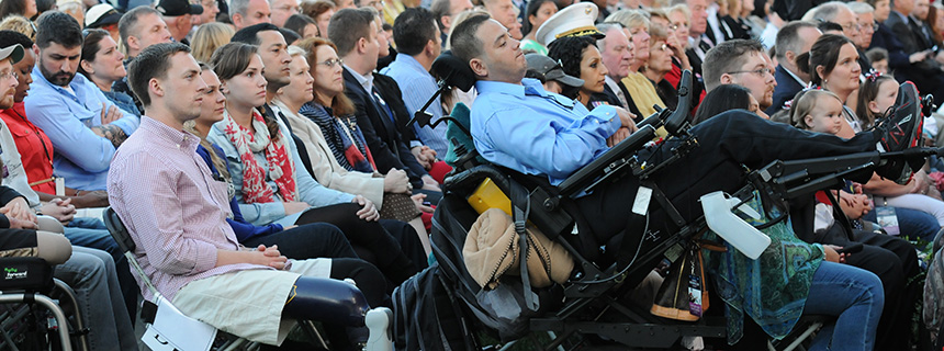 Wounded warriors and their families attend the National Memorial Day Concert