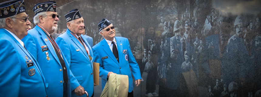 Korean war veterans visit their memorial in Washington DC