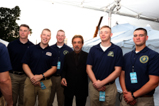 Host Joe Mantegna and the Marine Color Guard before the dress rehearsal for the 2015 National Memorial Day Concert