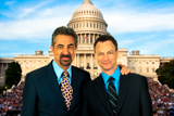 Co-hosts Joe Mantegna and Gary Sinise pose outside of the Capitol before the National Memorial Day Concert.