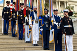 The Armed Forces Color Guard on the steps of the U.S. Capitol at the National Memorial Day Concert.