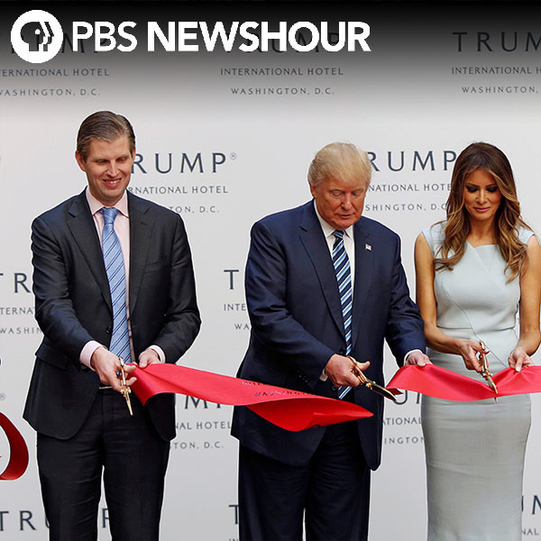 Trump promotes his new luxury hotel along with campaign