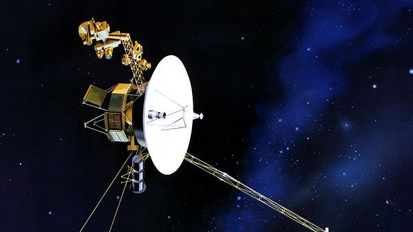 artist rendering of Voyager flying through space