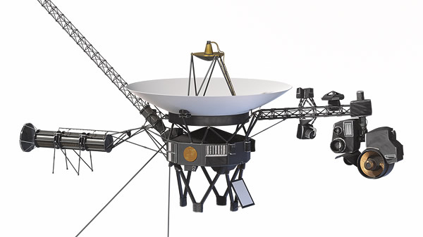 image showing Voyager with various cameras and other scientific instruments extending out from the main body of the spacecraft