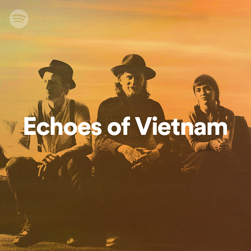 """A promotional image of the band The Lumineers with the text """"Echoes of Vietnam"""" overlaid"""