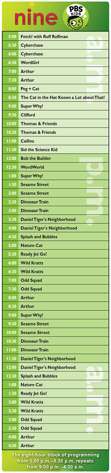 Nine PBS Kids Schedule
