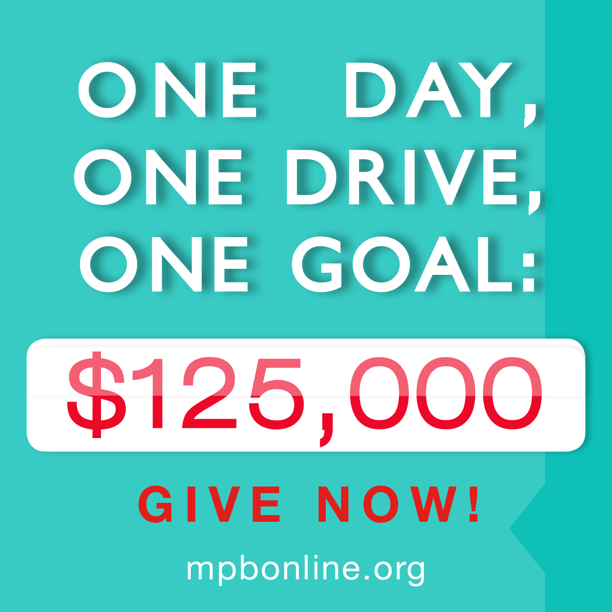 One Day, One Drive, One Goal: $125,000!