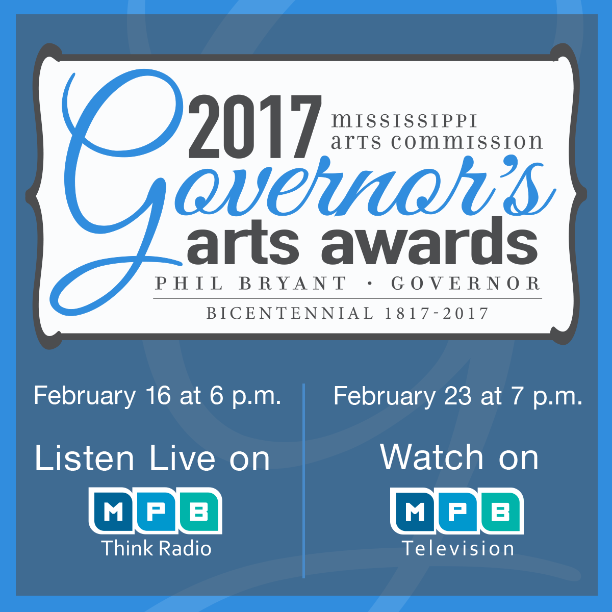 Watch the 2017 Governor's Arts Awards on February 23rd at 7PM on MPB TV.